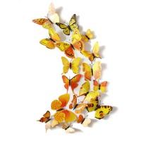 3D muursticker vlinders geel