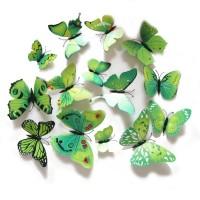3D muursticker vlinders groen