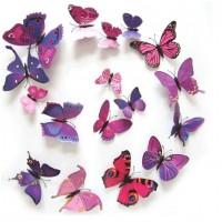 3D muursticker vlinders paars