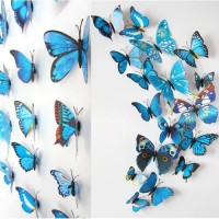 3D muursticker vlinders blauw