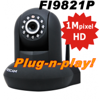 Foscam FI9821P Wifi Pan-Tilt HD Camera Plug-n-Play Zwart